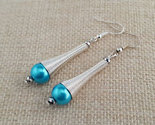 Turquoise and silver spiral cone earrings
