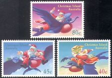 Christmas Island 1995 Santa Claus/Frigate Bird/Birds/Animation 3v set (b5034)