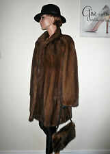 Genuine SAGA Real Mink Fur Jacket Demi Buff Brown Норка Visone Nerz 18- 20 - 22