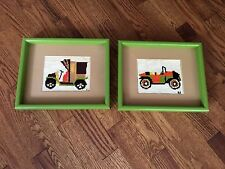 Framed Matted Cross Stitch Car and Truck Boys Nursery Decorations Green Frames