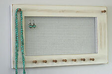 Earring jewelry organizer shabby white necklaces bracelets wall rack display