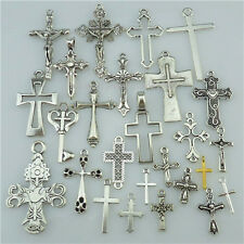 25PCS MIX Vintage Silver Alloy Faith Religious Cross Pendant Charms Fit Church