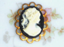 #1402Q Vintage Cameo Pendant Finding Victorian Charm Oval Lady NOS Black