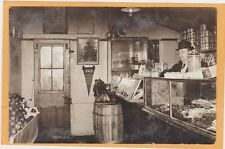 Real Photo Postcard RPPC - Man Behind Candy Counter Y&S Chewing Gum Pennant