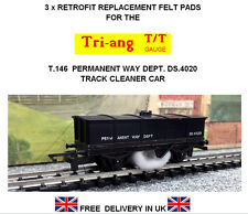 3 x Replacement Track Cleaning Felt pads for Tri-ang TT Gauge T146 Track Cleaner