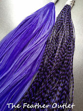 Lot 10 Grizzly Feathers Hair Extensions long thin skinny striped PURPLE