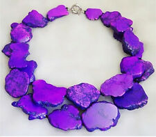 Purple Turquoise Slice Handmade Exaggerate Choker Necklace Woman Gift Party
