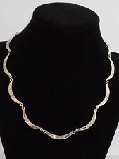 Ralph Lauren Silver Splendid Social Crystal Baguette Crescent Collar Necklace