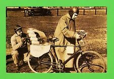 Nostalgia Postcard . March 1931 The first rocket driven bicycle explodes.