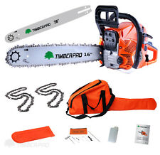 "TIMBERPRO 62cc 16"" & 20"" Petrol Chainsaw. Chains & Chain Saw Bars 16 & 20 Inch"