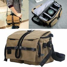 Retro Khaki Canvas Camera Bag DSLR SLR Shoulder Messenger Bag For Canon Nikon