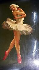 Antique rare Fedoskino Russian lacquer Box ballerina Signed Hand Painted