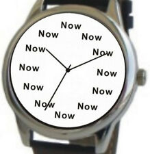 """NOW"" Is The Time On Each Hour Of The Large Polished Chrome Watch & Black Strap"