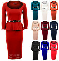 Ladies Long Sleeve Belted Peplum Knee Length Frill Bodycon Womens Dress 8-14