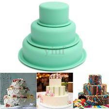 Silicone 3 Layers Tier Cake Pan Round Baking Bareware Mold Pastry Tray Mould