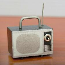 DOLLHOUSE MINIATURE VINTAGE FURNITURE TV TELEVISION WITH ANTENNA PORTABLE