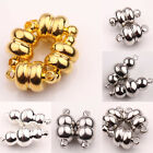Lots 5/10 Sets White K/Silver/Gold Plated Calabash Round Metal Magnetic Clasps