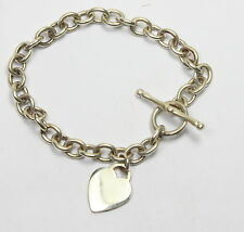 Sterling Silver T - Bar Heart Charm Link Style Bracelet Brand New Design