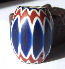 RARE AMAZING OLD LARGE 6 LAYER AFRICAN TRADE OVAL VENETIAN CHEVRON GLASS BEAD