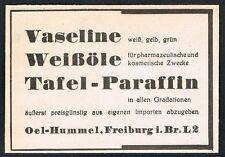 FREIBURG, Werbung 1938, Oel-Hummel, Vaseline, Paraffin, alte Reklame /115