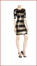 BCBG MAXAZRIA MARTA BLACK GOLD COMBO STRIPE SEQUIN  DRESS XS NWT $338-RackV/40