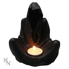 Gothic Black Grim Reaper | Final Flame Figurine | Sitting Candle Holder Statue