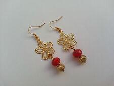 Orecchini pendenti fiore filigrana oro cristalli rossi 4mm