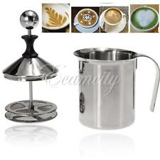 400ml Stainless Steel Milk Frother Cappuccino Coffee Frother Double Froth Pump