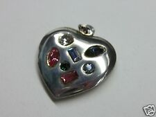Vintage Sterling silver Crystal stones Jeweled Puffy HeArT charm/pendant