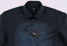 Men's HUGO BOSS Black Blue Geometric Shirt L Large NWT NEW $195+ Slim Fit NEMOS