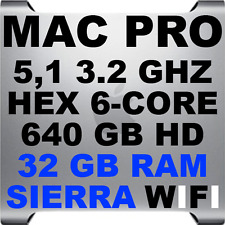 32GB RAM + 3.2GHz HEX/6 core Apple Mac Pro 5,1 A1289 • 640GB HD • Sierra • WiFi
