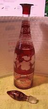 Vintage Bohemian Cranberry Blown Glass Decanter with Glass Stopper