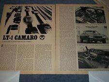"""1970 Camaro Z/28 Vintage Drag Test Info Article """"LT-1 Camaro"""" RS"""