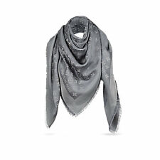 NEW Genuine LOUIS VUITTON Monogram SHINE Grey Lurex Silk Shawl Scarf LV M75120