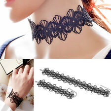 Women Punk Vintage Black Lace Flower Choker Necklace Bracelet Gothic Jewelry Set