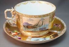 Antique RARE Victorian Soup Cup & Underplate Scenic OUTSTANDING Decoration!