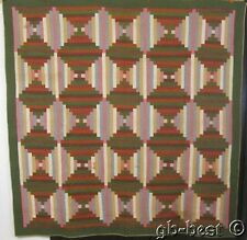 Antique PA 1860s Court House Steps Quilt PRE Civil War Prints LOG CABIN Browns