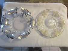 Beautiful set grape leaf design STERLING SILVER OVERLAY platter & MATCHING BOWL