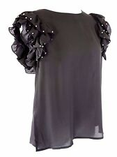 D13 Black With Puff Princess Ruffle Cap Sleeve Stud Embellished Top Large