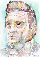 JOHNNY CASH Original watercolor portrait painting by Marina Sotiriou