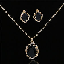 Black Jewelry Sets Women Trendy Crystal Necklace and Earrings Fashion Pendant