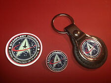 STARFLEET COMMAND  LEATHER KEY RING, SILVER  PLATED BADGE  +   PHONE STICKER