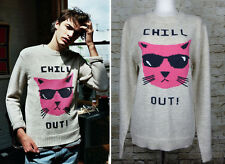Glamour Kills Chill Out Cat Oversized Wool Knit Blend Sweater Crew Neck Cream L