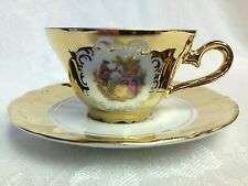 Vintage STW Bavaria/Germany Fragonard Loving Couple 24 KT Gold, Demitasse C & S
