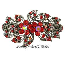 Anthony David Red Crystal Floral Hair Accessory Clip with Swarovski Crystals