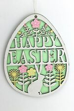 "GISELA GRAHAM EASTER WOODEN FRETWORK ""HAPPY EASTER"" EGG DECORATION LARGE"