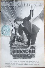 1905 French Fantasy Aviation Postcard: Couple in Hot Air Balloon Kissing - 2