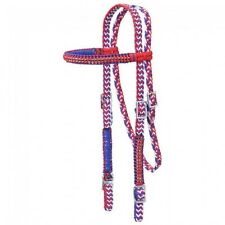Nylon Horse Barrel Racing Browband Braided Headstall Bridle Crystal Accents asst