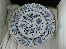 Meissen Blue Onion Chop Round Platter Chope Plate Crossed Swords 13 7/8""