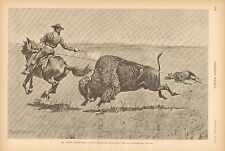 The Last Of The Buffalo, Mr Jones's Adventure, by Remington, 1890 Antique Print